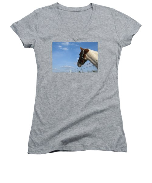 Women's V-Neck T-Shirt (Junior Cut) featuring the photograph Profile Of A Horse by Charles Beeler