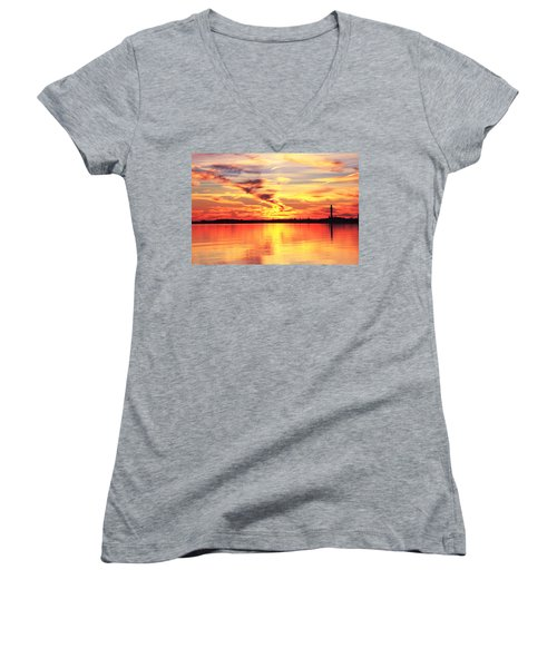 Provincetown Harbor Sunset Women's V-Neck T-Shirt (Junior Cut) by Roupen  Baker