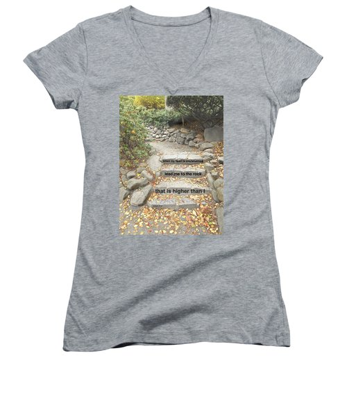 Women's V-Neck T-Shirt (Junior Cut) featuring the photograph Psalm 61 2 by Joan Reese