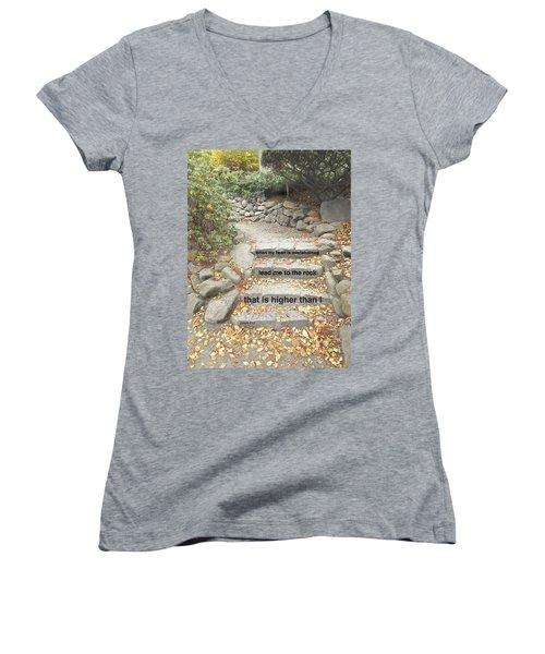 Psalm 61 2 Women's V-Neck T-Shirt (Junior Cut) by Joan Reese