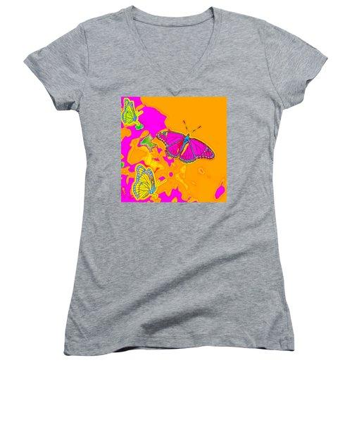 Psychedelic Butterflies Women's V-Neck T-Shirt