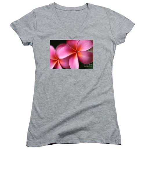 Women's V-Neck T-Shirt featuring the photograph Pua Lei Aloha Cherished Blossom Pink Tropical Plumeria Hina Ma Lai Lena O Hawaii by Sharon Mau