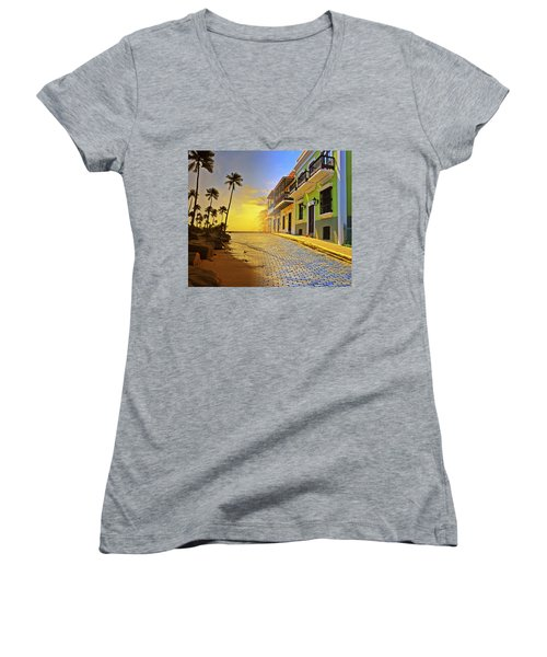 Puerto Rico Collage 2 Women's V-Neck T-Shirt (Junior Cut) by Stephen Anderson