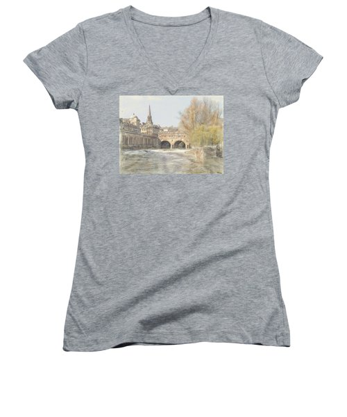 Pulteney Bridge Bath Women's V-Neck T-Shirt