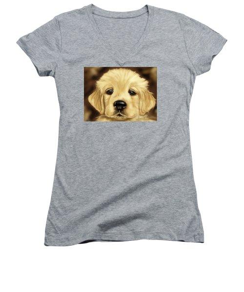 Puppy Women's V-Neck T-Shirt (Junior Cut) by Veronica Minozzi