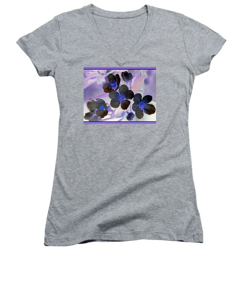 Women's V-Neck T-Shirt (Junior Cut) featuring the photograph Purple Blue And Gray by Chris Anderson