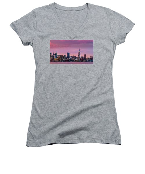 Purple City Women's V-Neck T-Shirt (Junior Cut) by Mihai Andritoiu