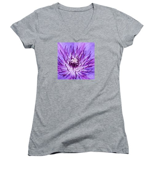 Purple Clematis Women's V-Neck (Athletic Fit)