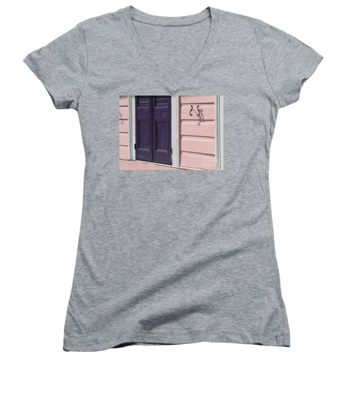 Women's V-Neck T-Shirt (Junior Cut) featuring the photograph Purple Door by Valerie Reeves