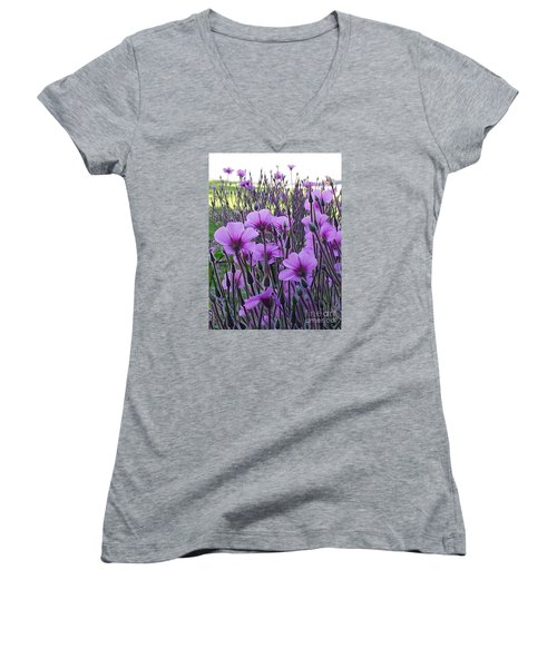 Women's V-Neck T-Shirt (Junior Cut) featuring the photograph Purple Field by Jasna Gopic