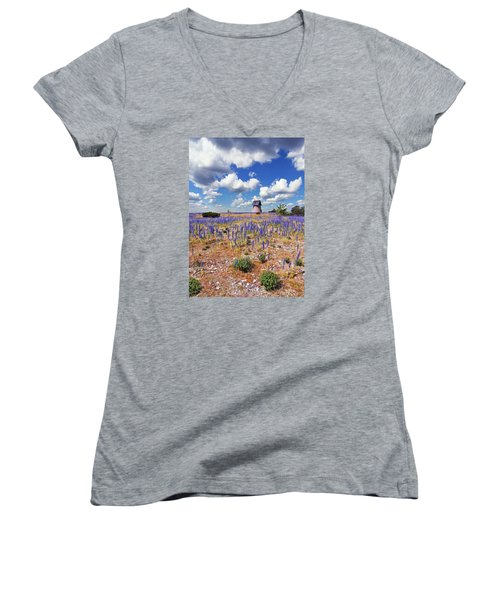 Purple Flower Countryside Women's V-Neck