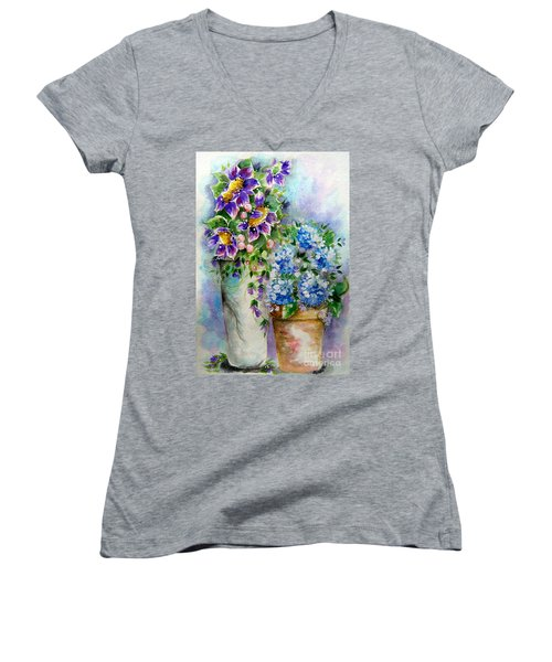 Women's V-Neck T-Shirt (Junior Cut) featuring the painting Purple Flowers by Patrice Torrillo