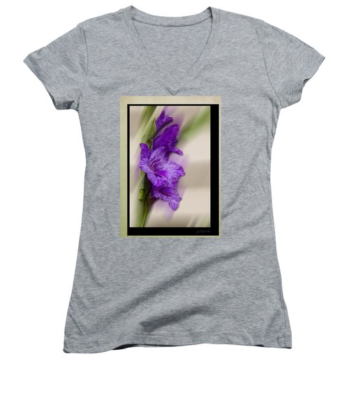 Purple Gladiolus Women's V-Neck T-Shirt (Junior Cut) by Patti Deters