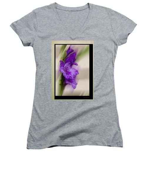 Purple Gladiolus Bloom Women's V-Neck