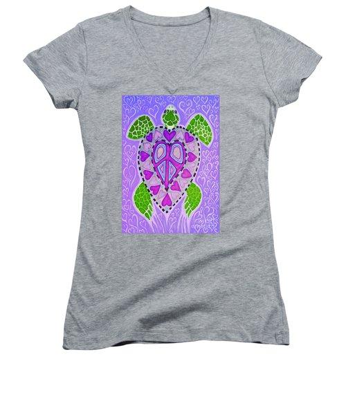 Purple Heart Turtle Women's V-Neck T-Shirt