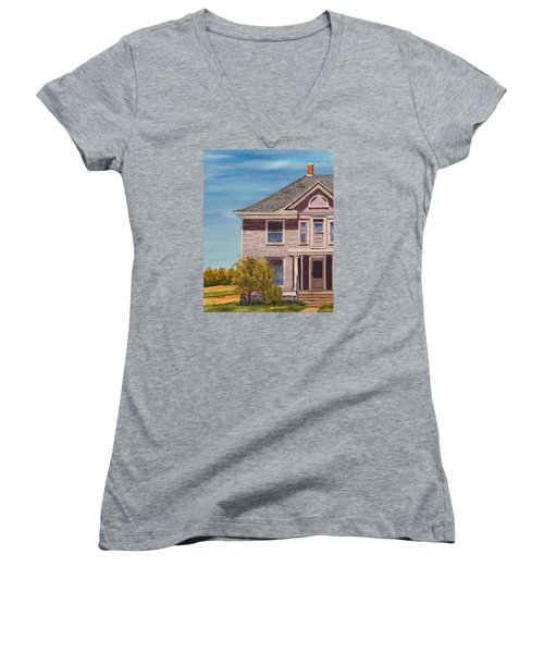 Purple House On The Prairie Women's V-Neck T-Shirt (Junior Cut) by Alan Mager