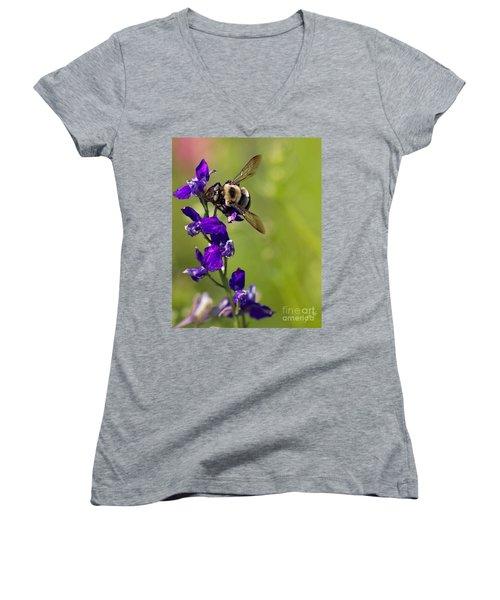 Purple Majesty Women's V-Neck T-Shirt (Junior Cut) by Erika Weber