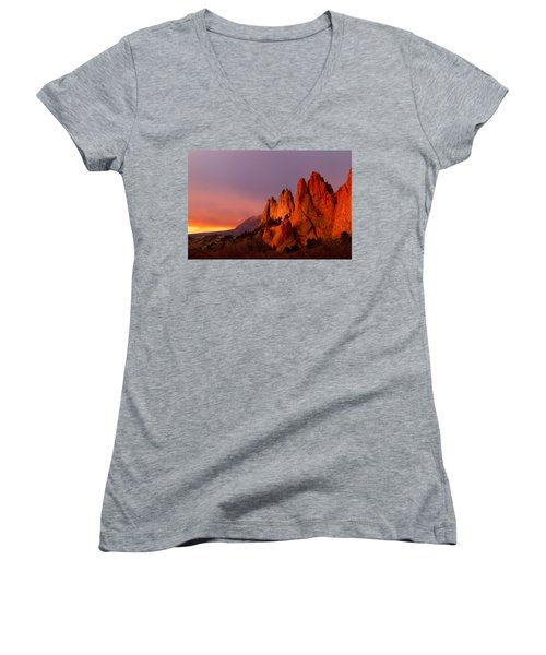 Women's V-Neck T-Shirt (Junior Cut) featuring the photograph Purple Morning At Garden Of The Gods by Ronda Kimbrow
