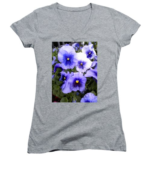 Women's V-Neck T-Shirt (Junior Cut) featuring the photograph Purple Morning Glory by Fortunate Findings Shirley Dickerson