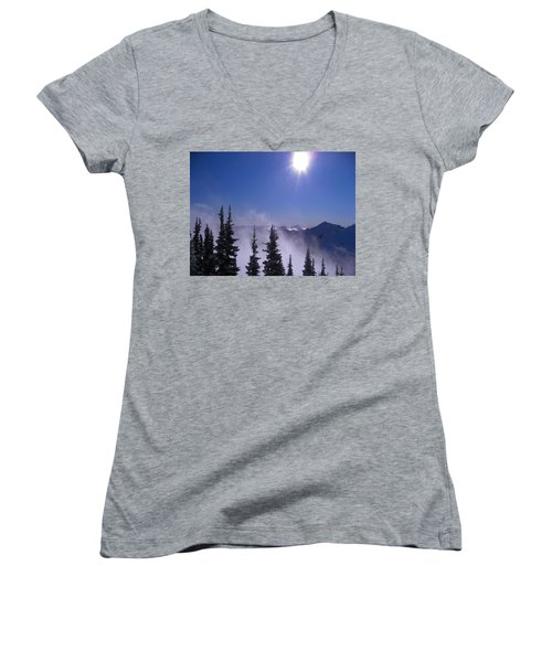 Purple Mountains Majesty Women's V-Neck T-Shirt (Junior Cut) by Kym Backland