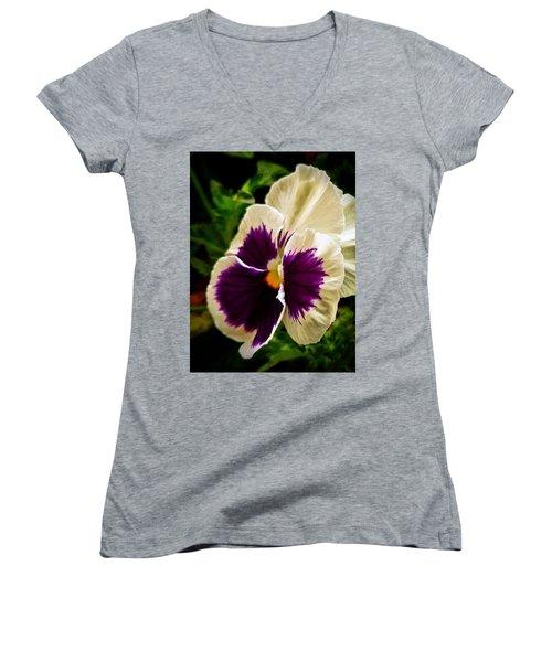 Purple Pansy Women's V-Neck
