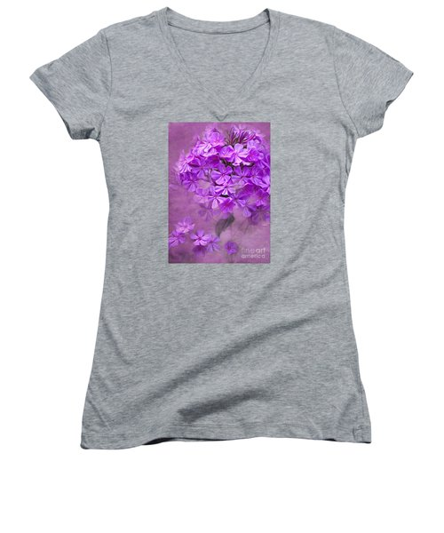 Purple Phlox Women's V-Neck T-Shirt