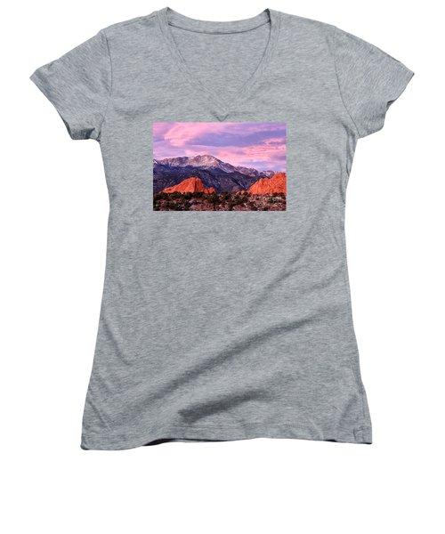 Purple Skies Over Pikes Peak Women's V-Neck T-Shirt (Junior Cut) by Ronda Kimbrow