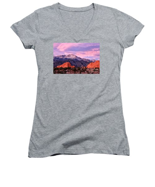 Purple Skies Over Pikes Peak Women's V-Neck (Athletic Fit)