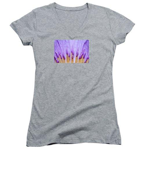 Purple Spires Women's V-Neck T-Shirt (Junior Cut) by Judy Whitton