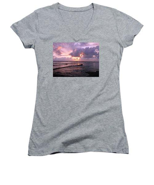 Women's V-Neck T-Shirt (Junior Cut) featuring the photograph Purple Pink Sunset by Athena Mckinzie