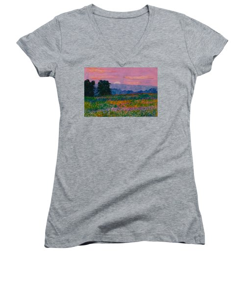 Purple Sunset On The Blue Ridge Women's V-Neck