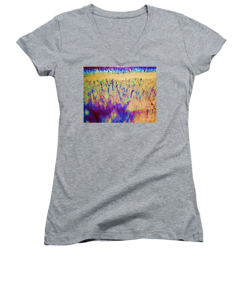 Purple Tan Stone Abstract Women's V-Neck T-Shirt (Junior Cut) by Eric  Schiabor