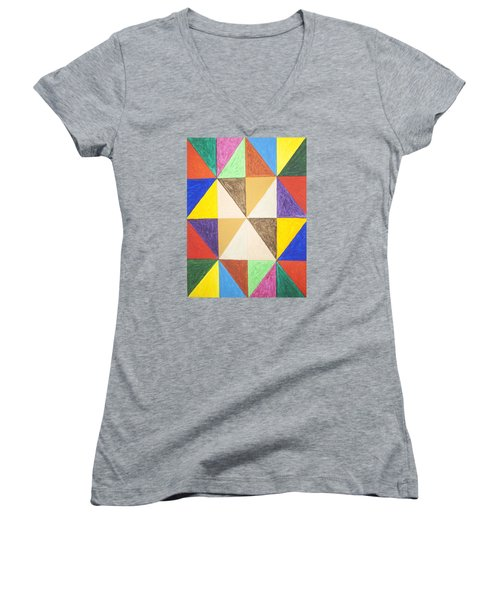 Pyramids 2 Women's V-Neck T-Shirt (Junior Cut) by Stormm Bradshaw
