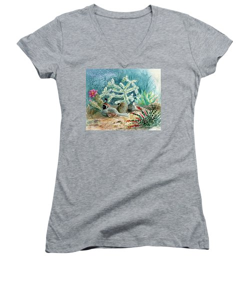 Quail At Rest Women's V-Neck T-Shirt (Junior Cut) by Marilyn Smith