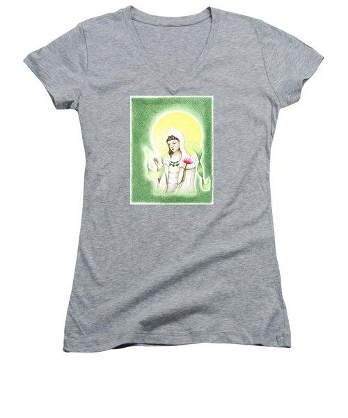 Quan Yin Women's V-Neck T-Shirt (Junior Cut) by Keiko Katsuta