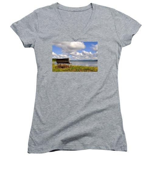 Women's V-Neck T-Shirt (Junior Cut) featuring the photograph Quartz Lake by Cathy Mahnke