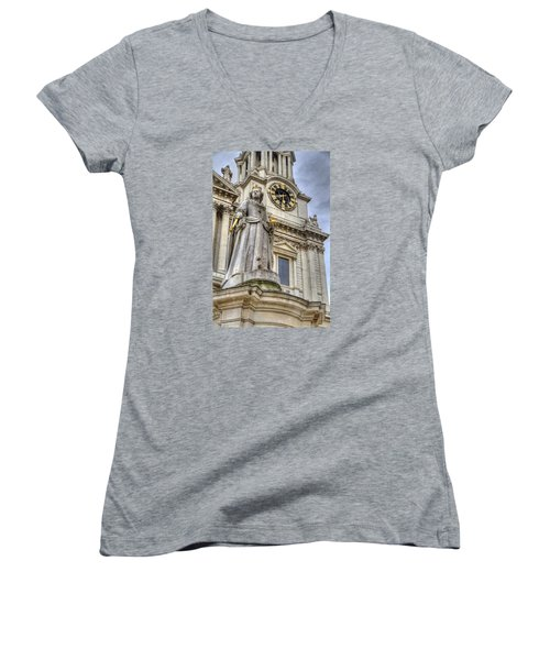 Women's V-Neck T-Shirt (Junior Cut) featuring the photograph Queen Anne Statue by Tim Stanley