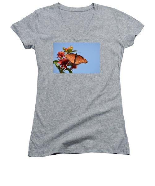 Women's V-Neck T-Shirt (Junior Cut) featuring the photograph Queen Butterfly by Debra Martz