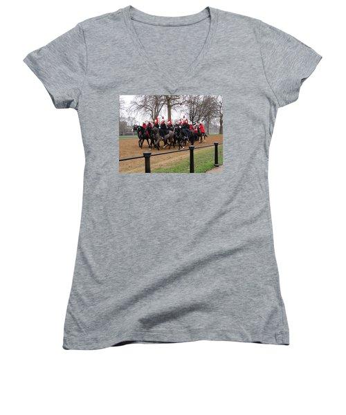 Women's V-Neck T-Shirt (Junior Cut) featuring the photograph Queen's Guard by Tiffany Erdman