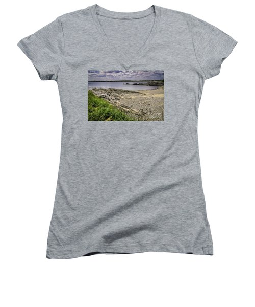 Women's V-Neck T-Shirt (Junior Cut) featuring the photograph Quiet Cove by Mark Myhaver