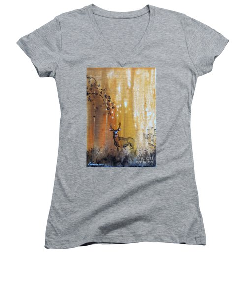 Quiet Time Women's V-Neck T-Shirt (Junior Cut) by Laurianna Taylor