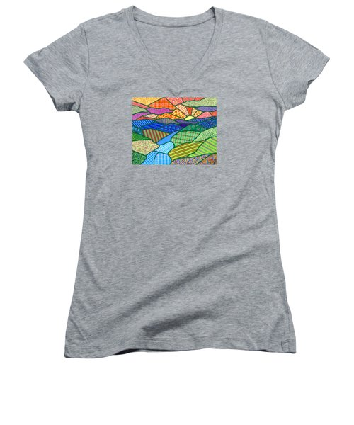 Quilted Appalachian Sunset Women's V-Neck (Athletic Fit)