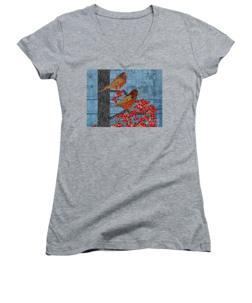 Sagebrush Sparrow Short Women's V-Neck T-Shirt (Junior Cut) by Kim Prowse