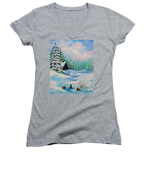 Women's V-Neck T-Shirt (Junior Cut) featuring the painting Rabbits Waiting For Spring by Bob and Nadine Johnston