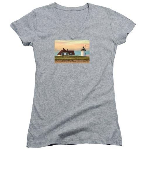 Race Point Light At Sunset Women's V-Neck T-Shirt (Junior Cut) by Brian Caldwell