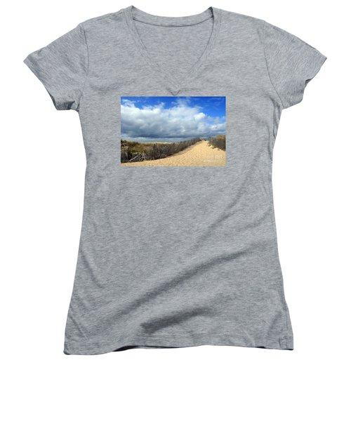 Race Point Women's V-Neck T-Shirt (Junior Cut) by Paula Guttilla