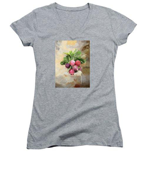 Radishes Women's V-Neck T-Shirt (Junior Cut) by Enzie Shahmiri