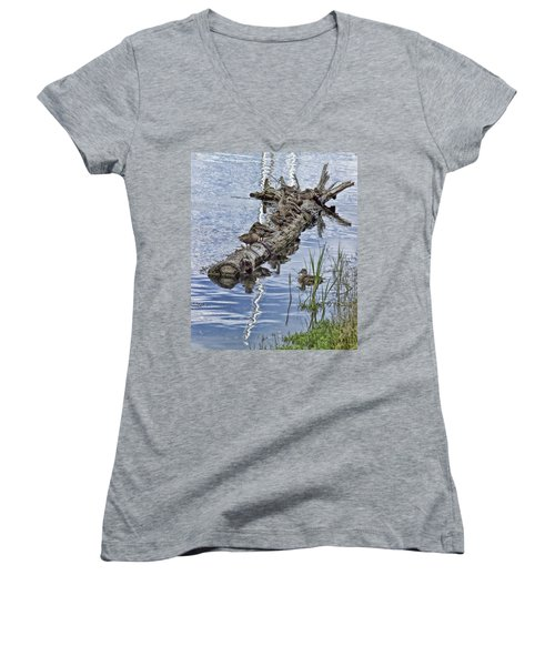 Raft Of Ducks Women's V-Neck T-Shirt (Junior Cut) by Cathy Anderson