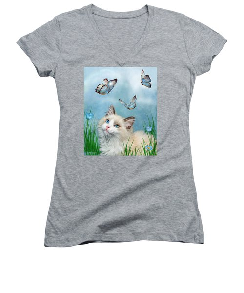 Women's V-Neck T-Shirt featuring the mixed media Ragdoll Kitty And Butterflies by Carol Cavalaris