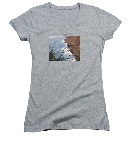 Ragged Point California Women's V-Neck T-Shirt (Junior Cut) by Barbara Barber